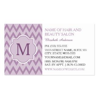 Beautician púrpura de moda del monograma del tarjeta de visita