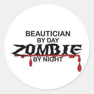Beautician Zombie Classic Round Sticker