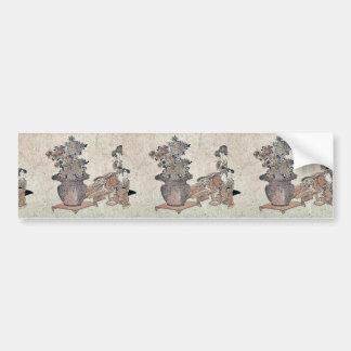Beauties admiring the flowers by Utagawa,Kuninao Car Bumper Sticker