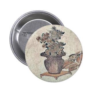 Beauties admiring the flowers by Utagawa,Kuninao 2 Inch Round Button