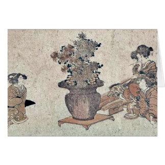 Beauties admiring the flowers by Utagawa,Kuninao Greeting Card