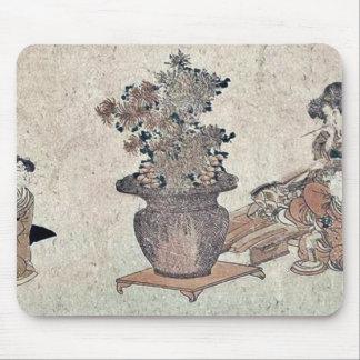 Beauties admiring the flowers by Utagawa,Kuninao Mouse Pad