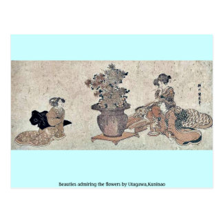 Beauties admiring the flowers by Utagawa,Kuninao Postcard