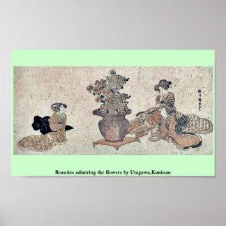 Beauties admiring the flowers by Utagawa,Kuninao Poster