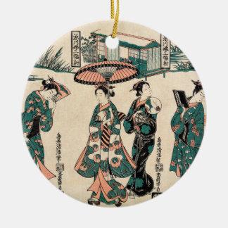 Beauties from Fukagawa. Triptych Ceramic Ornament