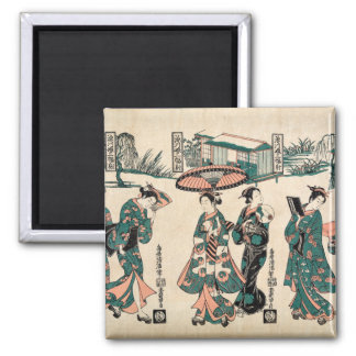 Beauties from Fukagawa. Triptych Magnet