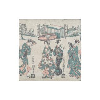 Beauties from Fukagawa. Triptych Stone Magnet