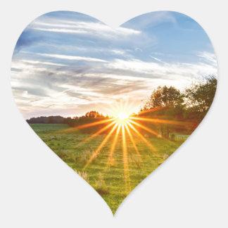 beautif de la puesta del sol de Carolina del Sur Pegatina En Forma De Corazón