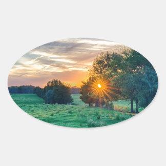 beautif de la puesta del sol de Carolina del Sur Pegatina Ovalada