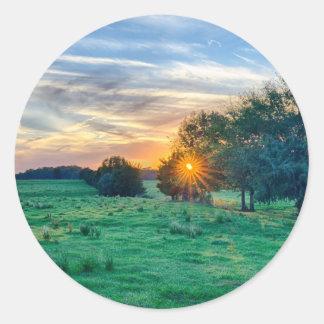 beautif de la puesta del sol de Carolina del Sur Pegatina Redonda