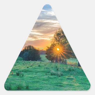 beautif de la puesta del sol de Carolina del Sur Pegatina Triangular