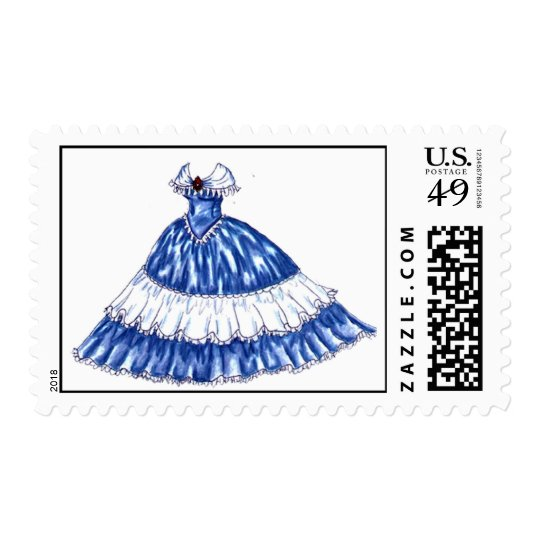 Beautiful 1800's Gown Postage Stamps