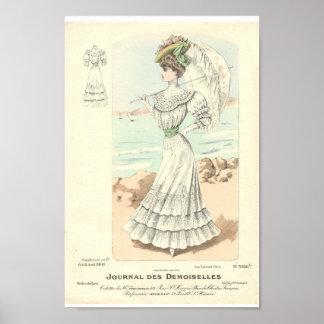 Beautiful 1900 white dress elegant lady Paris Poster