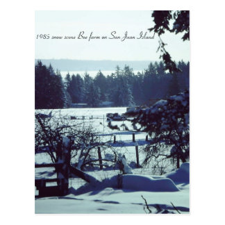 Beautiful 1985 snow scene at Boe farm on San Juan Postcard