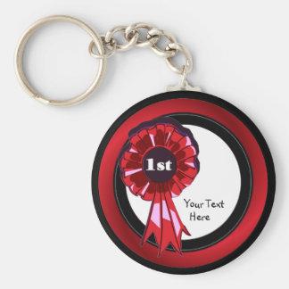 Beautiful 1st Place Ribbon Key Ring Basic Round Button Keychain