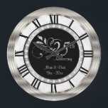 """Beautiful 25th Silver Diamond Anniversary Large Clock<br><div class=""""desc"""">25th Silver Diamond Wedding Anniversary. Decorative Clock. 100% Customizable. Ready to Fill in the box(es) or Click on the CUSTOMIZE button to add, move, delete or change any of the text or graphics. Made with high resolution vector and/or digital graphics for a professional print. NOTE: (THIS IS A PRINT. All...</div>"""