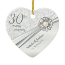 Beautiful 30th Pearl Jewel Anniversary Ceramic Ornament
