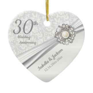 Beautiful 30th Pearl Jewel Anniversary Ceramic Ornament