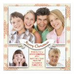 "beautiful 3 photos merry Christmas photo card 5.25"" Square Invitation Card"
