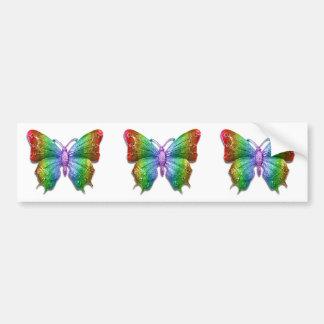 Beautiful 3D Jeweled Rainbow Butterfly Bumper Sticker