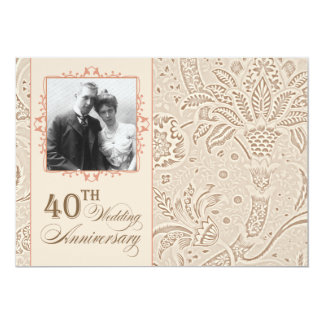 beautiful 40 anniversary photo invitations