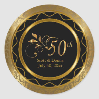 Beautiful 50th Golden Wedding Anniversary Classic Round Sticker