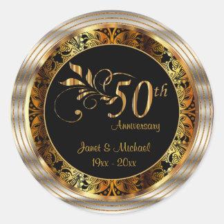 Beautiful 50th Golden Wedding Anniversary Classic Round Sticker