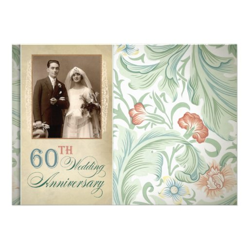 beautiful 60th wedding anniversary photo invites