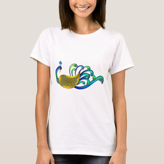 Beautiful, Abstract and Colorful Indian Peacock T-Shirt