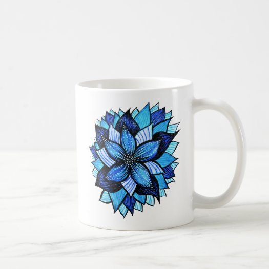 Beautiful Abstract Blue Flower Ink Drawing