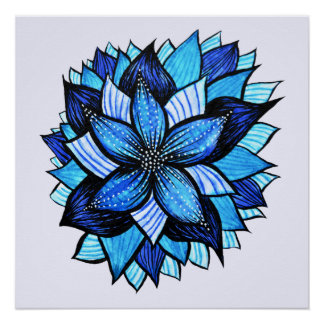 Beautiful Abstract Blue Flower Ink Drawing Poster