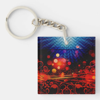 Beautiful Abstract Chevron Light Rays Design Double-Sided Square Acrylic Keychain