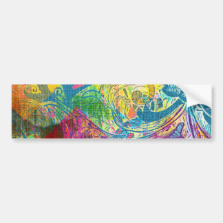 Beautiful Abstract Colorful Floral Swirls Flourish Bumper Stickers