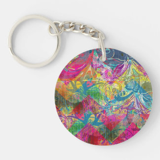 Beautiful Abstract Colorful Floral Swirls Flourish Double-Sided Round Acrylic Keychain