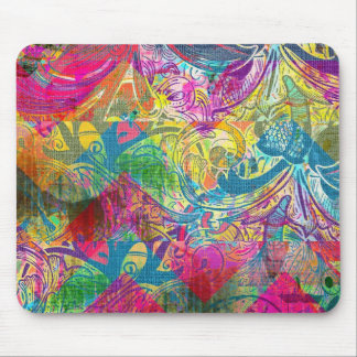 Beautiful Abstract Colorful Floral Swirls Flourish Mousepads