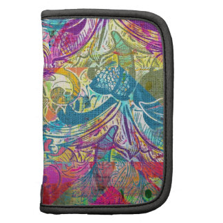 Beautiful Abstract Colorful Floral Swirls Flourish Folio Planners