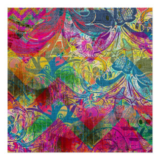 Beautiful Abstract Colorful Floral Swirls Flourish Poster
