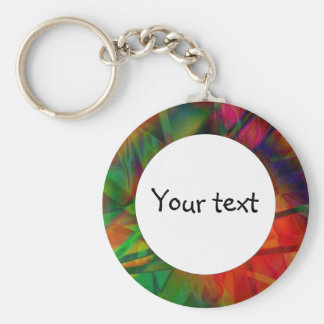 Beautiful abstract design basic round button keychain