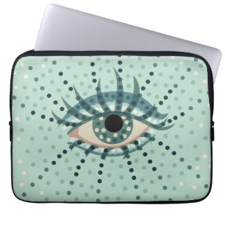 Beautiful Abstract Dotted Blue Eye Computer Sleeves
