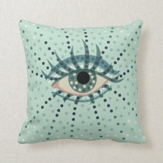 Beautiful Abstract Dotted Blue Eye Throw Pillow