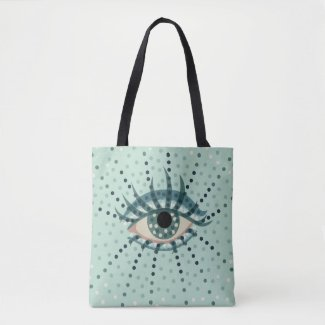 Beautiful Abstract Dotted Blue Eye Tote Bag