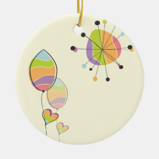 Beautiful Abstract Flower and Sun Ceramic Ornament