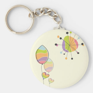 Beautiful Abstract Flower and Sun Keychain
