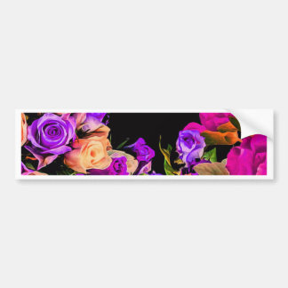 Beautiful Abstract Flowers Black Background Bumper Sticker