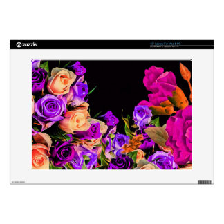 """Beautiful Abstract Flowers Black Background Decals For 15"""" Laptops"""