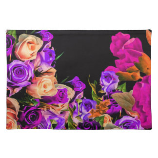 Beautiful Abstract Flowers Black Background Placemat