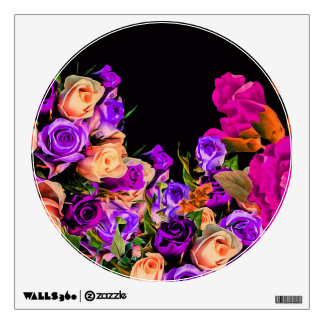 Beautiful Abstract Flowers Black Background Wall Sticker