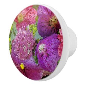 Beautiful Abstract Flowers Ceramic Knob