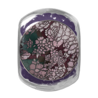 Beautiful Abstract Flowers Glass Candy Jars