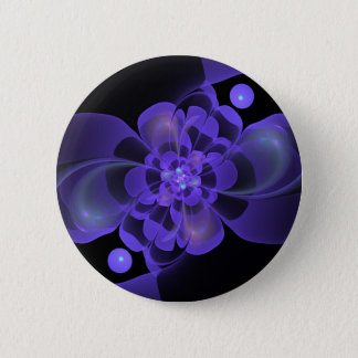 Beautiful abstract fractal flower button